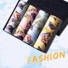 [Indonesia Direct] 4pcs/set Men Stylish Printing Breathable Soft Boxers with U Convex Design Goddess type_XL