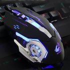[Indonesia Direct] Ergonomic Pro Wired LED Light 4000DPI Optical USB Gamer Gaming Mouse  black