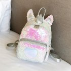 [Indonesia Direct] Girls Fashion Sequin Cute Backpack Travel Bag Silver