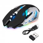 [Indonesia Direct] LED Wireless Optical Gaming Mouse Rechargeable X7 High Resolution Mouse black