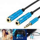 [Indonesia Direct] Portable Headset Adapter Splitter 3.5mm Jack Cable with Separate Mic and Audio Headphone Connector  blue
