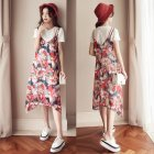 [Indonesia Direct] Women Summer Printing Straps Dress Photo Color_L