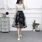 [Indonesia Direct] Women Summer Fashion Mesh Printing High Waist A-line Tutu Skirt black_One size