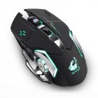 [Indonesia Direct] Rechargeable Wireless Silent LED Backlit Gaming Mouse USB Optical Mouse for PC black