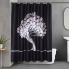 [US Direct] 120GSM abstract peacock tree printing thick waterproof and mildew proof polyester shower curtain + plastic shower curtain hook set black_180cm*180cm none