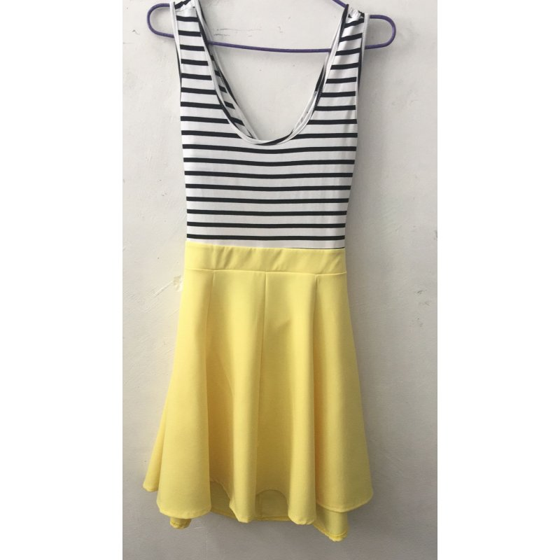 [US Direct] Ladies Open Back Sleeveless Slim Fit Striped Casual Cute Mini Dress Yellow_XL