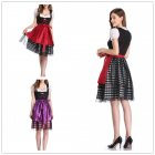 [US Direct] Women's Oktoberfest Plaid Mesh Stitching Embroidery A Line Formal Dresses Suit