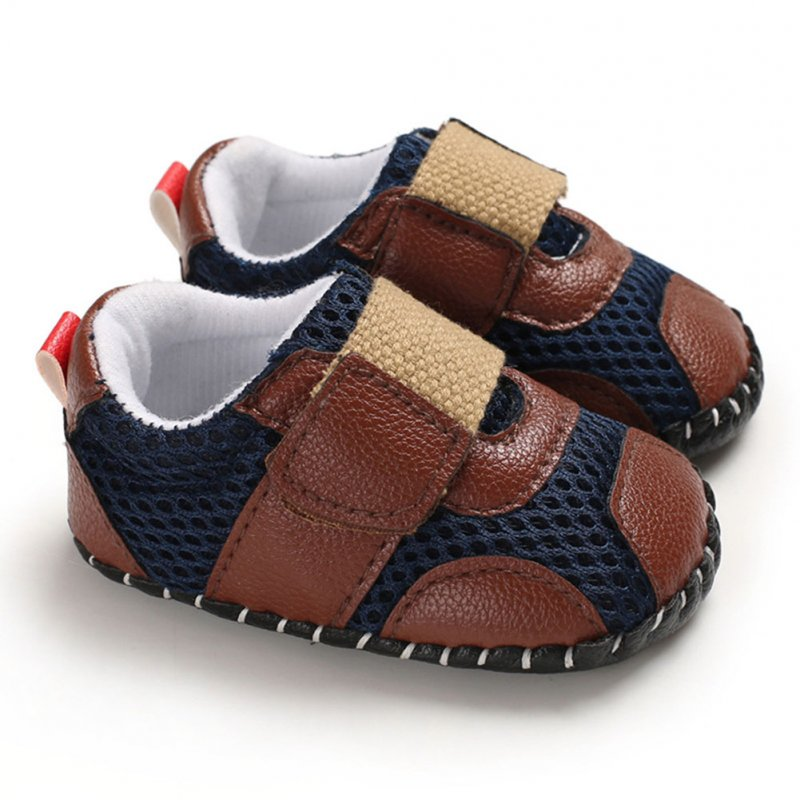 0-1 Years Baby Infant Boys Soft Rubber Sole Shoes Sports Mesh Cloth Breathbale Shoes with Magic Sticker  brown_13 cm inside length