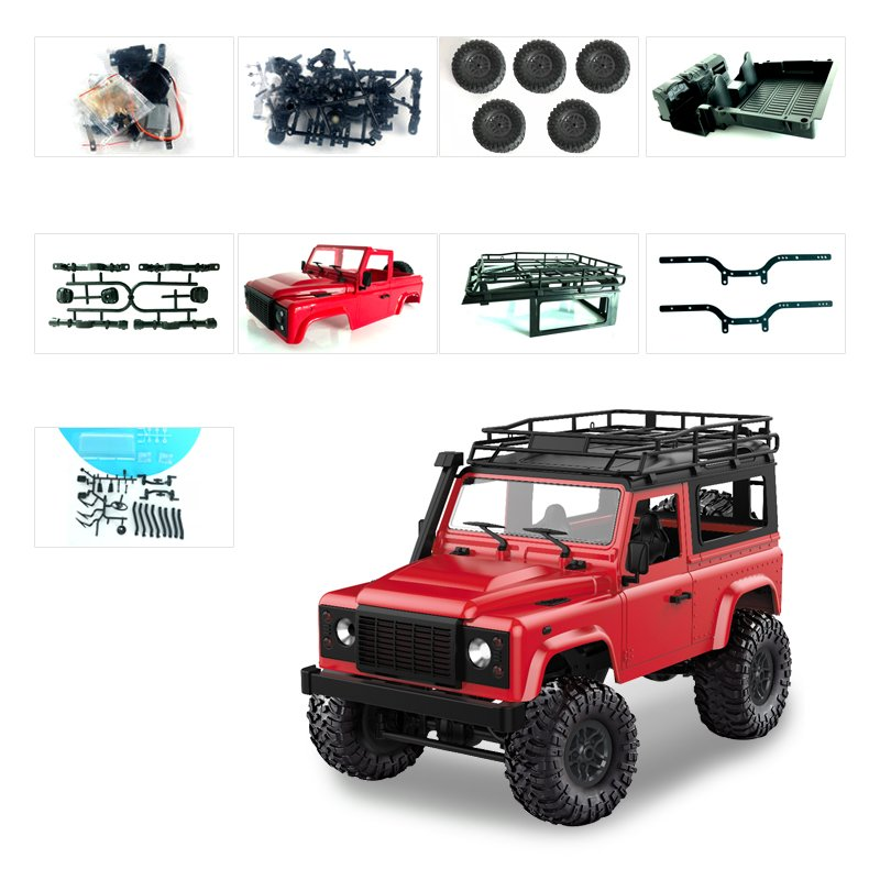 1:12 2.4G Remote Control High Speed Off Road Truck Vehicle Toy RC Rock Crawler Buggy Climbing Car for PICKCAR D90 Kid Boy Toys KIT red without remote control, battery, charger