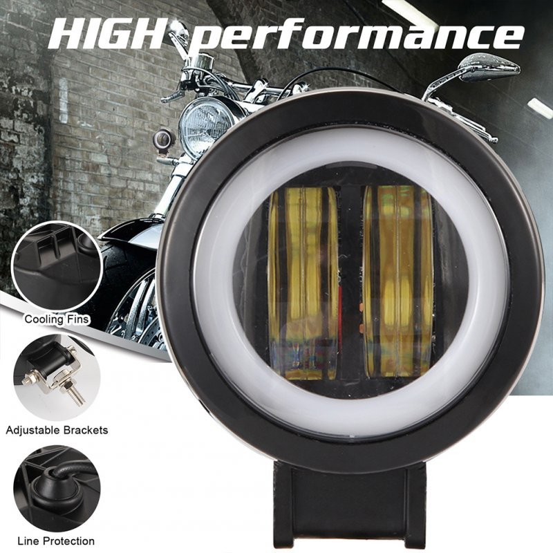 1/2 Pcs 3 Inch 40W Fog Light White 6000K Waterproof Round Led Angel Eye Light Strip Off-Road Vehicle Marine Work Light Motorcycle Light black_1PCS