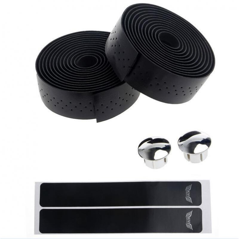 Fixed Gear Road Bike Anti-slip Handlebar Tape Bicycle Handle Belt Wrap+2 Bar Plug Bicycle Parts Bike Accessories black