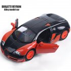 1:32 Alloy Sports Car Shape Modeling Pull Back Sound Light Toy with Opening Door Orange
