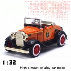 1 32 Classic Ford Retro Vintage Cars Alloy Car Model with Sound Light Convertible Car Toy  Convertible classic car orange