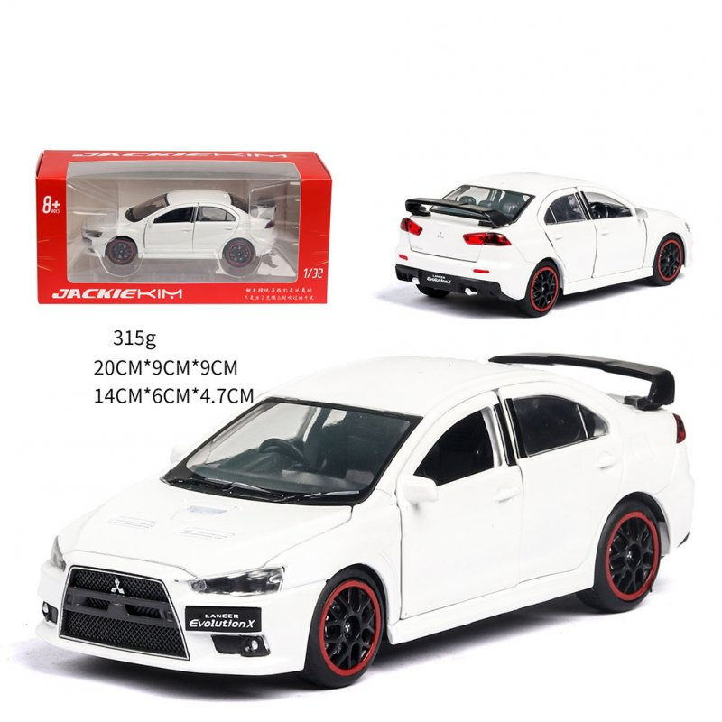 1:32 Simulation EVO Alloy Pull Back Car Mould with Sound Light for Children's Toys Gifts white