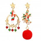 1 Pair of  Christmas  Earrings   Star Hairball Candy Pendant  Earrings Golden