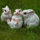 1 Set of 3PCS Resin Realistic Cute Rabbit Figure Statue Miniature Garden Outdoor Garden Home Counter Decoration