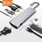 10 In 1 Type-C To Audio HDMI Pd VGA 1000mbps Internet USB 3.0 Hub Adapter Converter Silver