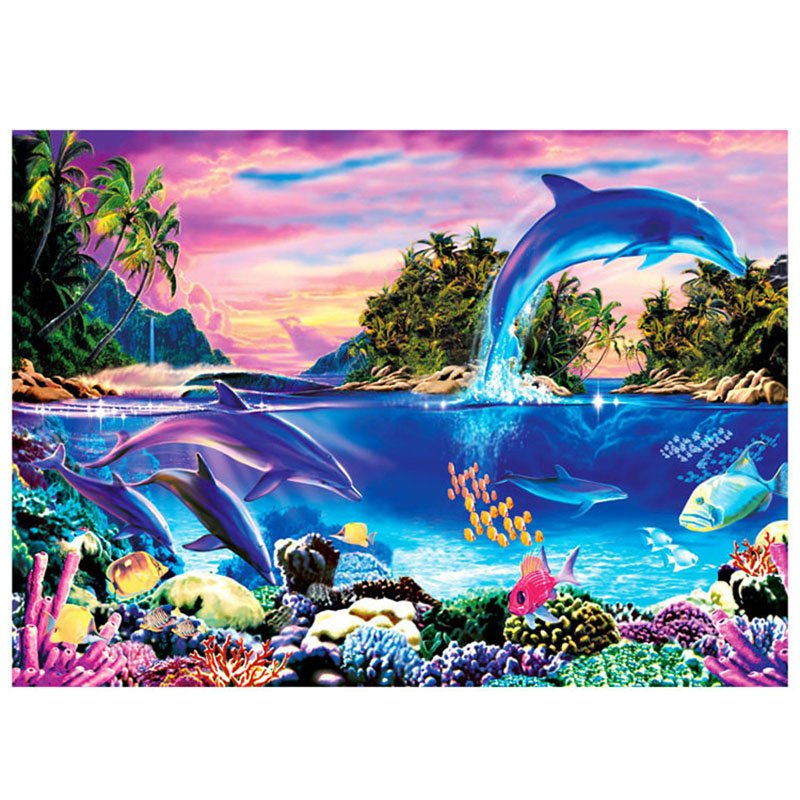 1000 Pieces Jigsaw Puzzles Educational Toys Scenery Space Stars Educational Puzzle Toy for Kids/Adults Christmas Halloween Gift Dolphin Bay