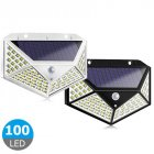 100LEDs Solar Wall Light Lamp 3 Modes Four-Sided Illumination Motion Sensor Street Night Lighting white_1PC