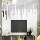 100Pcs/set Acrylic Mirror Wall Sticker Self-adhesive 3D Wallpaper DIY Home Decoration 2*2cm Silver
