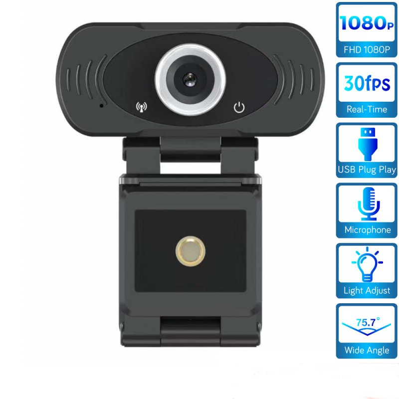 1080P HD Webcam Microphone USB Plug Play Video Call Web Camera for PC Laptop Computer black