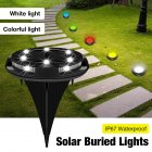 10LED Solar Underground Light Outdoor Waterproof Garden Courtyard staircase Colorful gradient   fixed color