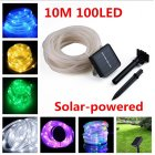 10M 100LED Waterproof Solar-powered Pipe String Lights Garden Yard Home Party Decoration ordinary white