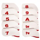 10PCS/Set Black Golf Plain Headcover Iron Cover Set for Cleveland Ping Mizuno Adams red