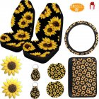 10PCS Sunflower Accessories for Car Wheel Cover Front Seat Covers Sunflower armrest pad cover Cup Holder Coaster Keyring Vent Sunflower