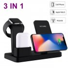 10W Qi Wireless Charger for iPhone X 8 Charger 3 in 1 Mobile Phone Fast Charger Quick Charge Dock for Apple Watch 4 3 2 1 black