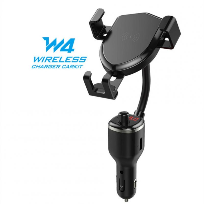 10W Wireless Fast Charge Vehicle MP3 Transmitter Dual USB Mobile Phone Holder Stand black