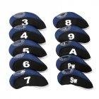 10pcs/set Number Pattern Golf Iron Rod Head Covers Protector Golf Rod Sleeve Accessories Black dark blue
