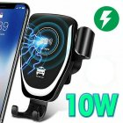 10w Car Wireless Charger Fast Charge Intelligent air outlet Gravity Wireless Charging Phone Car Holder black