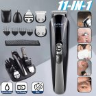 11 in 1 Multifunction Hair Clipper Professional Hair Trimmer Electric Beard Trimmer Hair Cutting Machine black_UK Plug