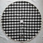 122cm Plaid Christmas Tree Skirt with Tassel Ball Xmas Tree Skirt for Holiday Christmas Decorations Black and white plaid