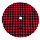 122cm Plaid Christmas Tree Skirt with Tassel Ball Xmas Tree Skirt for Holiday Christmas Decorations Red and black plaid
