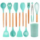 12Pcs/Set Nordic Style Wooden Handle Silicone Kitchenware with Storage Barrel Kitchenware 12-piece set with kitchenware bucket