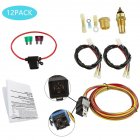 12pcs Dual Electric Cooling Fan Wire Harness Kit 185 On 165 Off Thermostat 50 AMP Relay