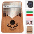 17 Keys Kalimba Portable Thumb Piano Mahogany with Padded Bag Tuner Hammer Musical Instruments Wood color