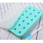 18 Grids Ice Cream Mold Silica Gel Ice Box Kitchen Bar Homemade Ice Hockey Ball Moulds 22mm water drop cyan + dropper