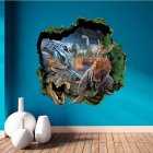 19 7 x19 7  Creative 3D Dinosaurs Broken Wall PVC Wall Stickers Waterproof Removable Mural Art Decals for Home Decoration  ZY1439