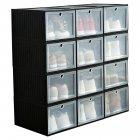1PC Large Size Home Foldable Drawer Storage Box Transparent Dust-Proof Shoes Box black_25x34x19cm