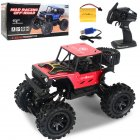 2.4G Remote Control Wireless Electric Quattro 1:14 Alloy Off-road Rock Crawler Children Toy with Light red_1:14