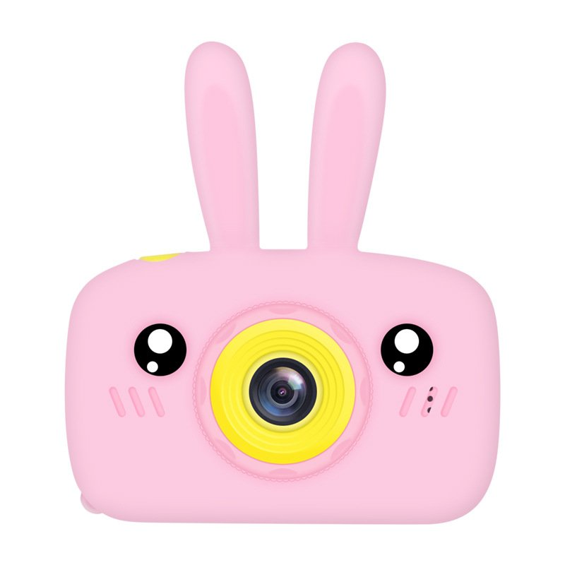 2 Inch HD Screen Digital Mini Camera Kids Cartoon Cute Camera Toys Outdoor Photography Props for Child  Pink rabbit
