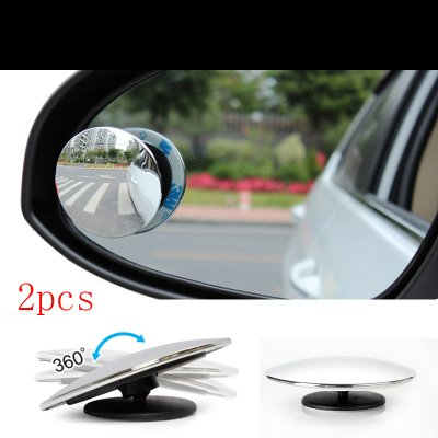 2 PCS Round HD Convex Rear View Mirror