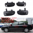 2 Pairs Outside Door Handle Front Rear Left Right for Hyundai Accent  black