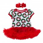 2 Pcs set Baby Cartoon Short sleeve Net yarn Dress   Headdress for 0 2 Years Old 2 80