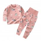 2 Pcs/set Children's Underwear Set Cotton Long-sleeve Top + High-waist Belly-protecting Pants for 0-4 Years Old Kids Pink _90