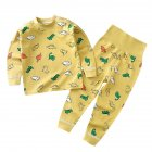 2 Pcs/set Children's Underwear Set Cotton Long-sleeve Top + High-waist Belly-protecting Pants for 0-4 Years Old Kids Yellow _90