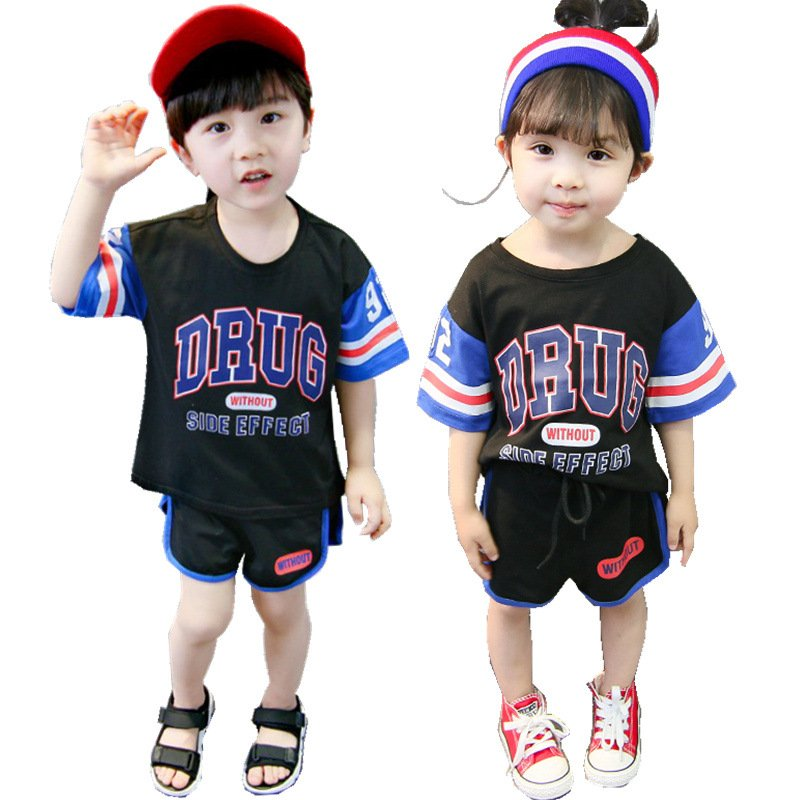 2 Pcs/set Kids Boys Girls Fashion Letter Printing Short Sleeve Tops+Shorts Summer Suit Sportswear